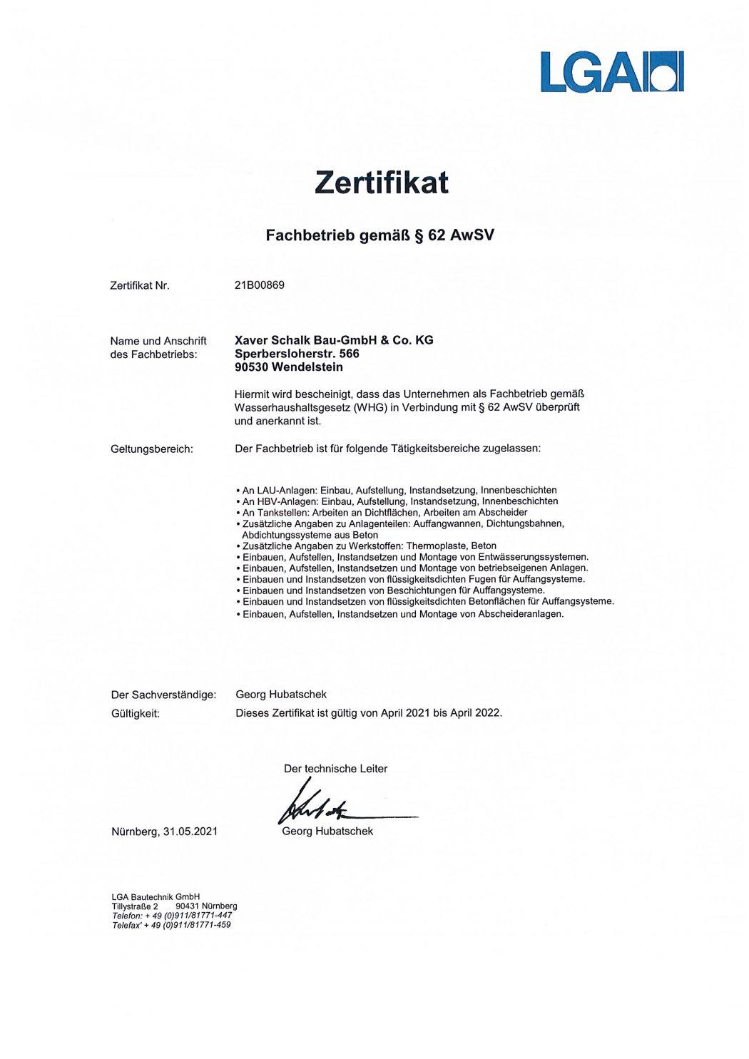 WHG Zertifikat